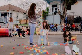 children playing games in street